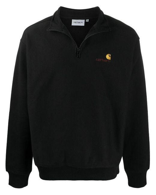 Carhartt WIP Black Short-zip Logo Sweatshirt for men