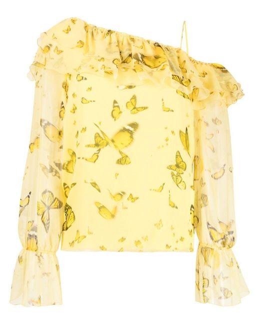Blumarine ワンショルダー ラッフルブラウス Yellow