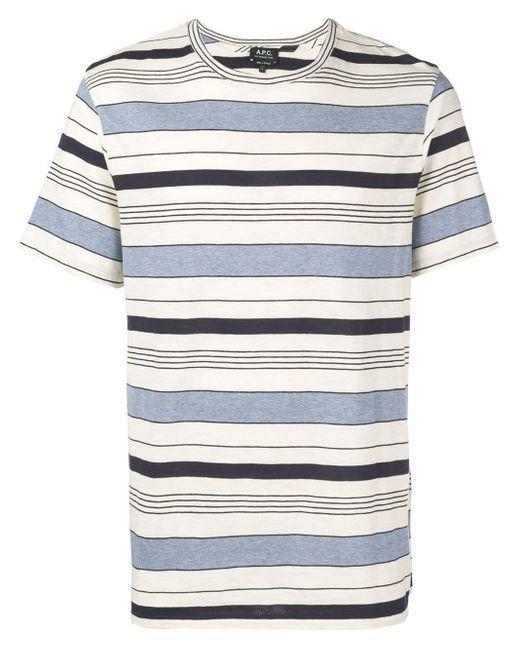 メンズ A.P.C. Robert ストライプ Tシャツ Blue