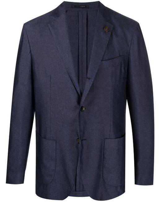 Однобортный Пиджак На Пуговицах Lardini для него, цвет: Blue