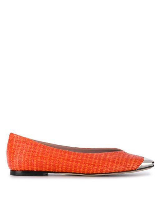 Emilio Pucci メタリック フラットパンプス Orange