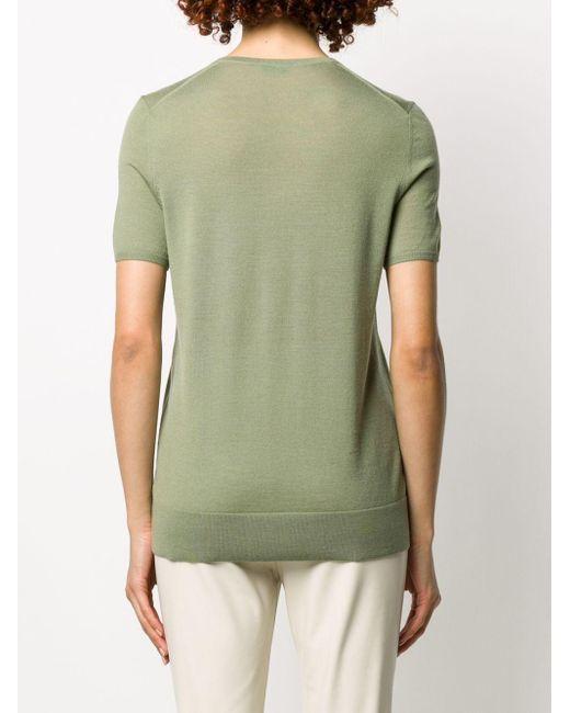 Top en maille à manches courtes Joseph en coloris Green