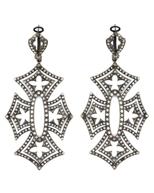 Loree Rodkin | Black 'shadow Cross' Diamond Earrings | Lyst
