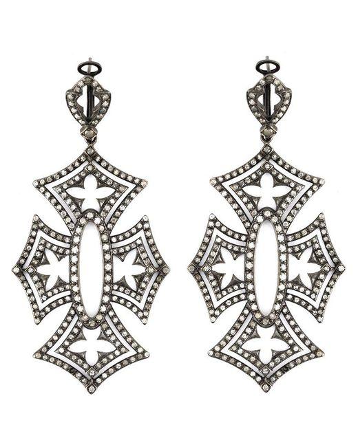 Loree Rodkin - Black 'shadow Cross' Diamond Earrings - Lyst