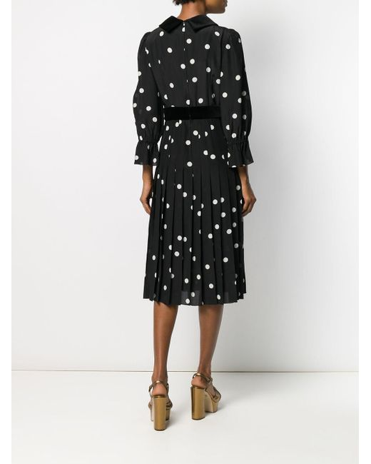 Robe mi-longue à pois Dolce & Gabbana en coloris Black