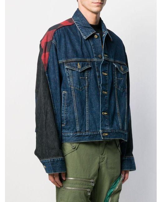 メンズ Facetasm パッチワーク デニムジャケット Blue