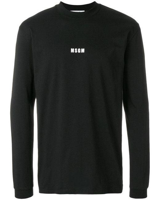 MSGM - Black Logo Print Sweatshirt for Men - Lyst