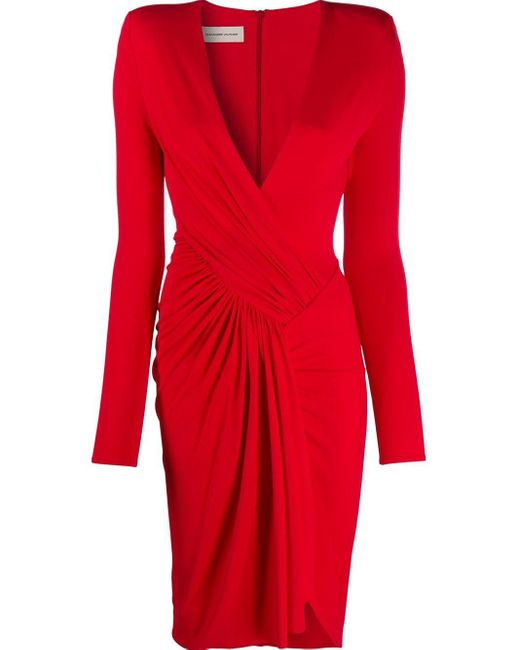 Alexandre Vauthier ギャザー ドレス Red