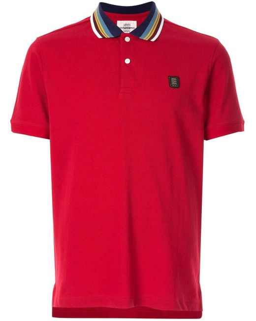メンズ Kent & Curwen コントラストカラー ポロシャツ Red