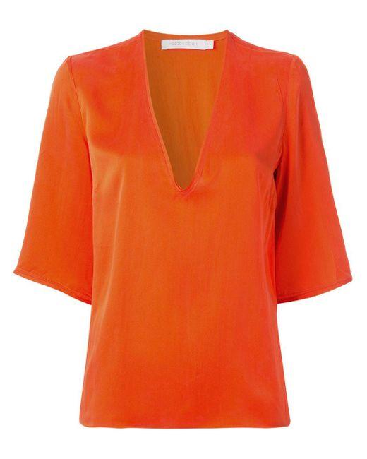 Nobody Denim Vネック Tシャツ Orange