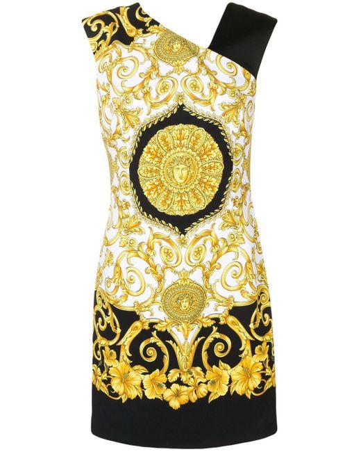 Robe courte imprimée sans manches Versace en coloris Black