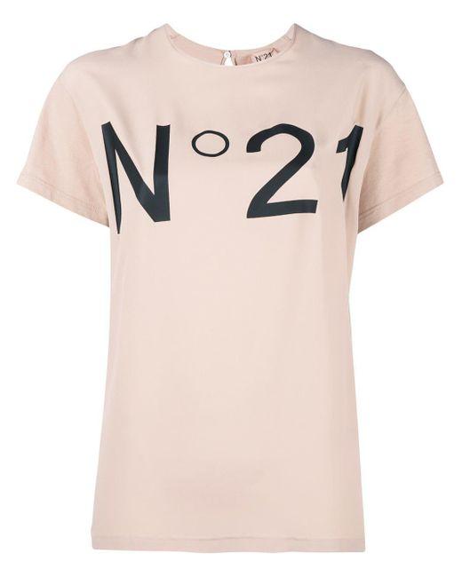N°21 Camiseta con logo estampado de mujer u3kbZ