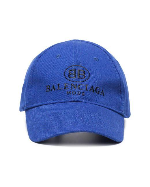 メンズ Balenciaga エンブロイダリー キャップ Blue