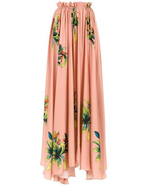 Amir Slama Orange Long Silk Skirt