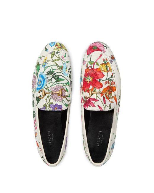 Лоферы 'jordaan' С Цветочным Принтом Gucci, цвет: White