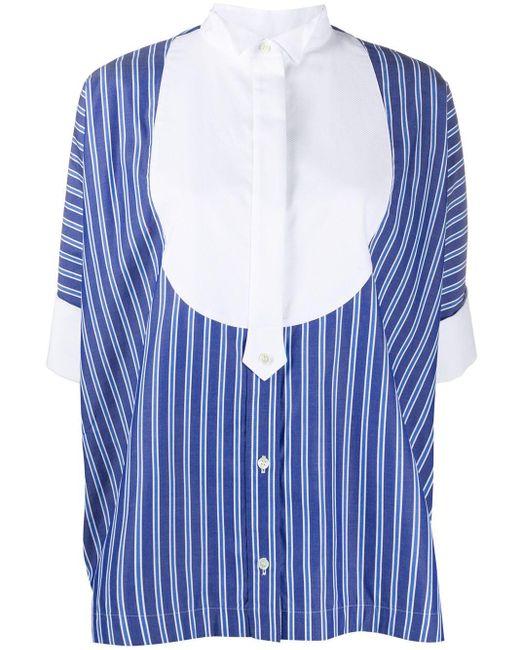 Sacai ストライプ プリーツシャツ Blue