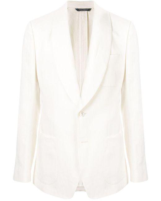 メンズ Dolce & Gabbana シングル リネンジャケット White