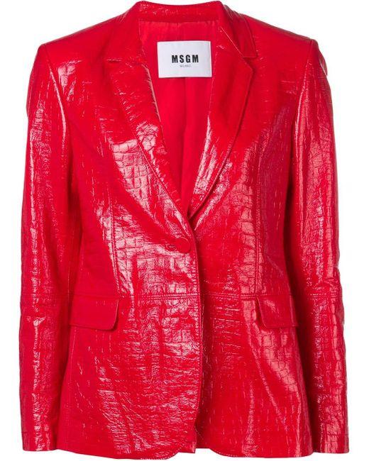 MSGM クロコダイル ジャケット Red