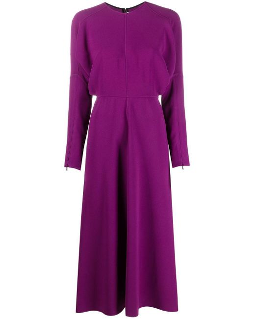 Victoria Beckham Purple Dolman Sleeve Midi Dress