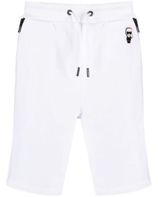 メンズ Karl Lagerfeld Ikonik Karl トラックショーツ White