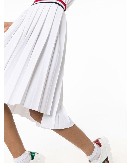Плиссированная Юбка С Завышенной Талией Thom Browne, цвет: White