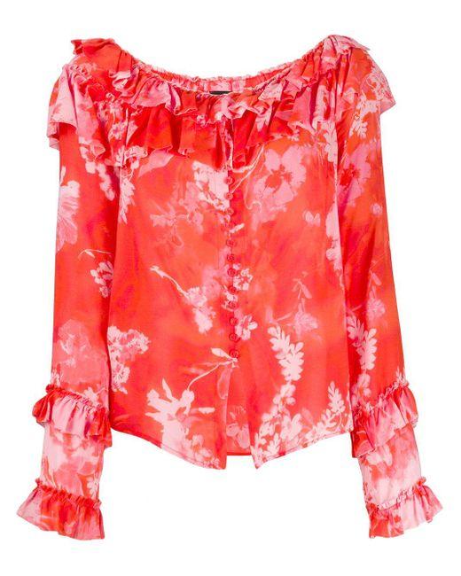 Pinko Blusa con estampado floral de mujer de color rojo hRapA