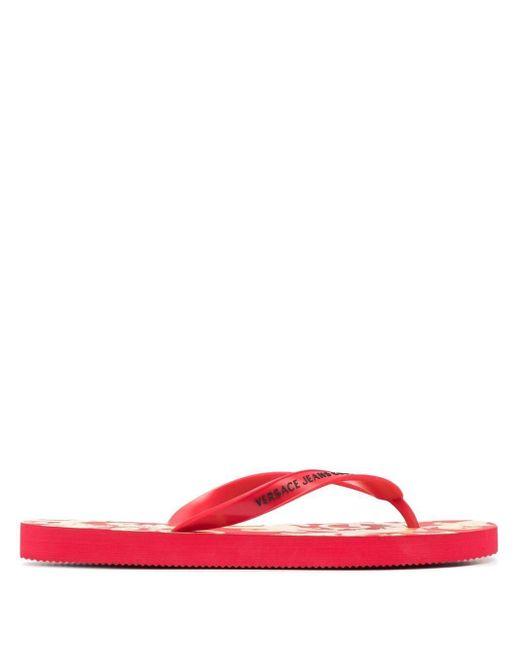 メンズ Versace Jeans ロゴ フラットサンダル Red