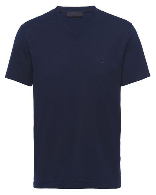 Prada Blue Stretch Logo T-shirt for men