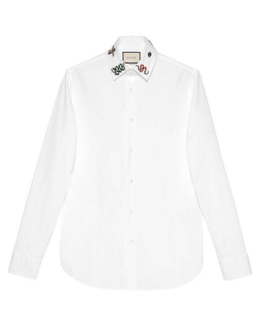 メンズ Gucci 【公式】 (グッチ)シンボルズ コットン シャツホワイト コットンホワイト White