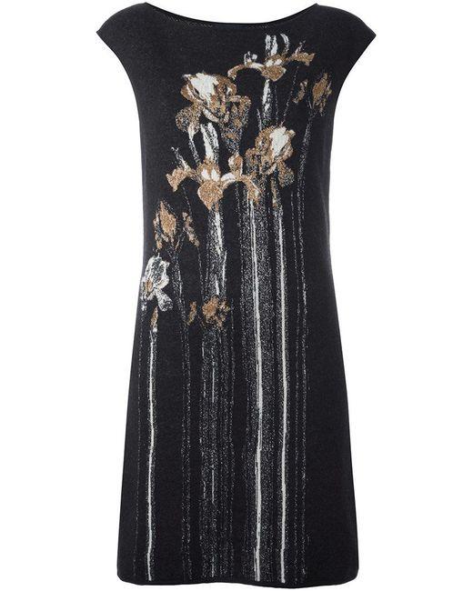 Class Roberto Cavalli | Gray Floral Intarsia Mini Dress | Lyst