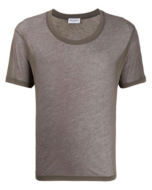 メンズ Saint Laurent ショートスリーブ Tシャツ Gray