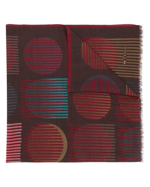 Kiton Brown Printed Cashmere Scarf for men