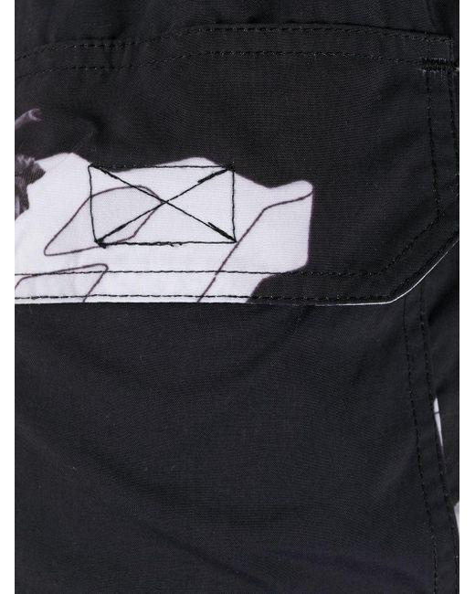 Misbhv Men's Black Silhouette Print Swim Shorts