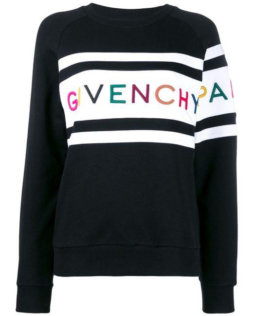 Givenchy ブラック パネル ロゴ スウェットシャツ Black