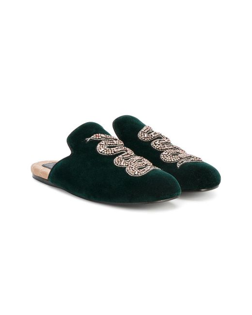 e09c55a20f2 ... Gucci - Green Snake Embellished Evening Slippers - Lyst ...