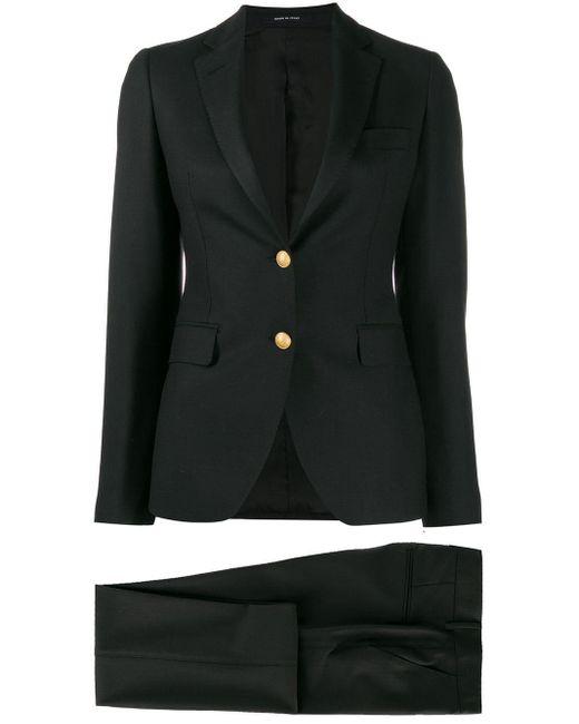 Tagliatore Black Plain Trouser Suit
