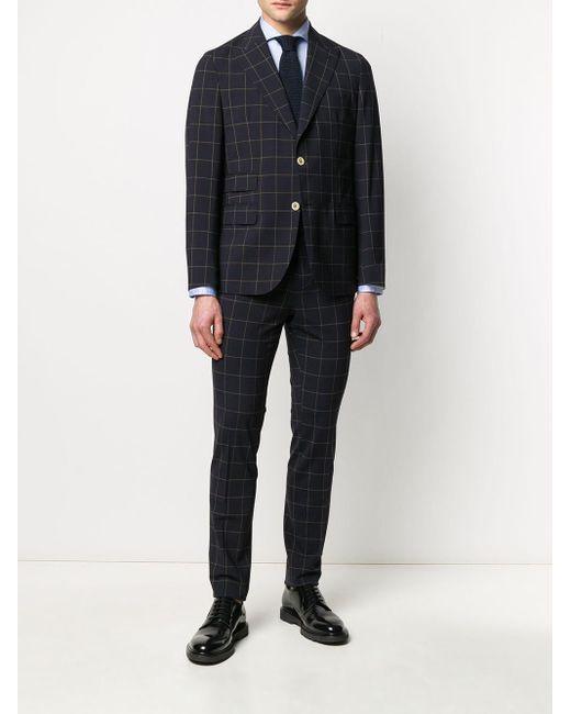 メンズ Eleventy チェック シングルスーツ Blue