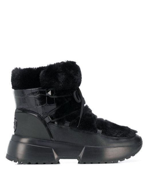 MICHAEL Michael Kors Black Cassia Sherpa-trimmed Snow Boots