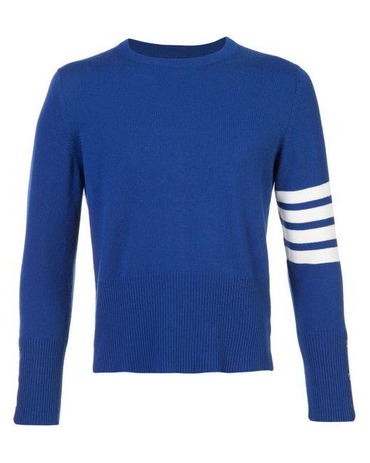 メンズ Thom Browne 4bar ショート カシミアプルオーバー Blue