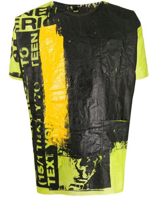 メンズ Raf Simons グラフィティ Tシャツ Yellow