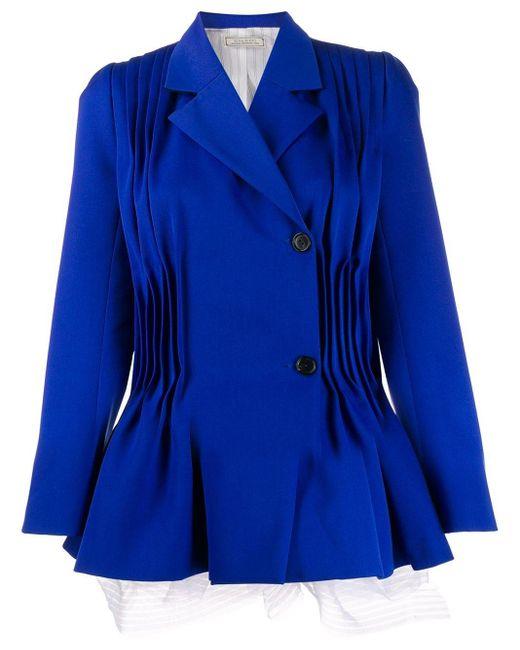 Nina Ricci プリーツディテール フレアジャケット Blue