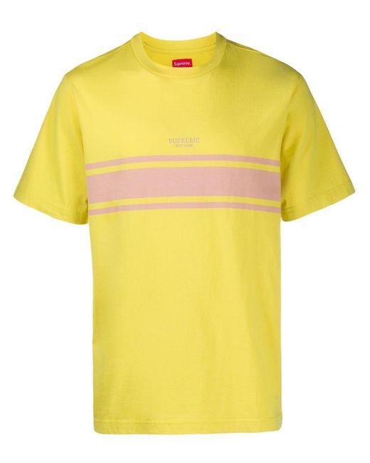 メンズ Supreme ストライプ Tシャツ Yellow