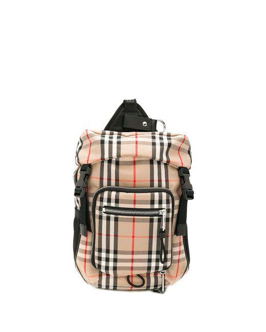 Рюкзак В Клетку Burberry для него, цвет: Black