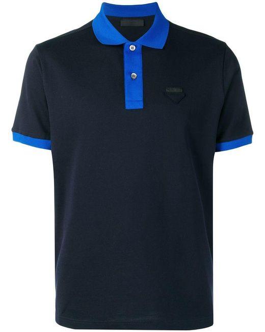 a73f3f176 Polo Lyst Blue hombres Patch Logo para Prada BSqtfwt