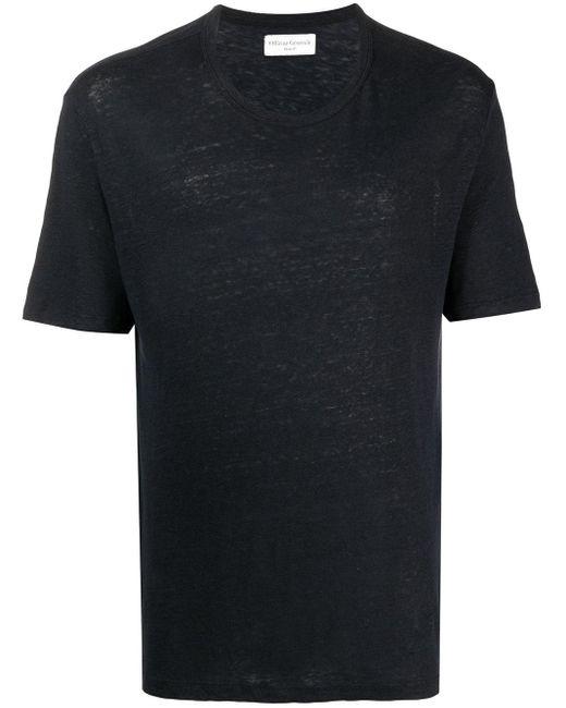 Officine Generale Black Round Neck Short-sleeved T-shirt for men