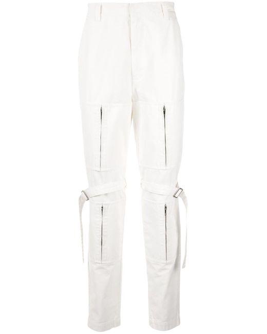 Pantalones rectos con detalles de cremalleras Ambush de color White