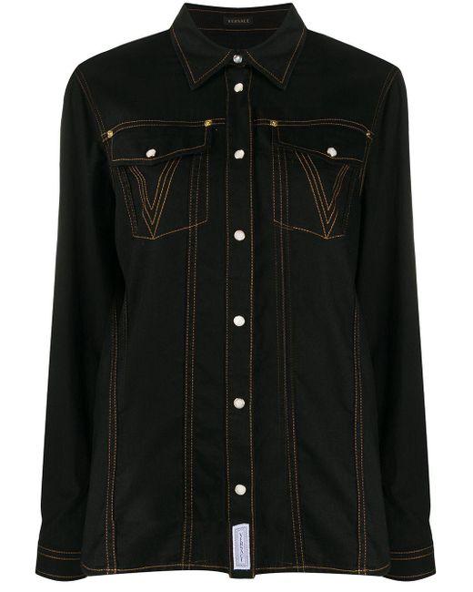 Versace Black Medusa Glitter-embellished Shirt