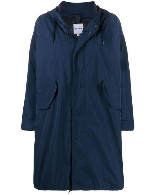 Aspesi オーバーサイズ フーデッドコート Blue
