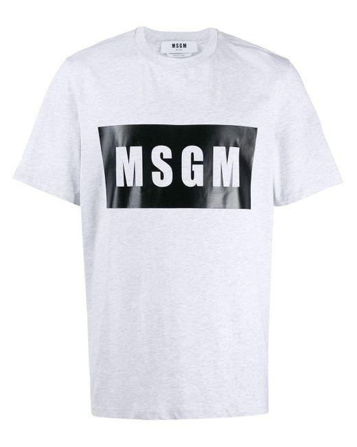 メンズ MSGM ロゴ Tシャツ Gray