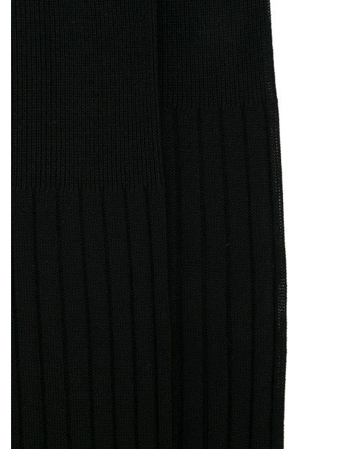 メンズ Fashion Clinic リブ編み ハイソックス Black